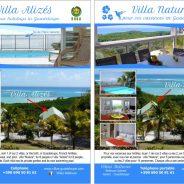 Villa Nature (3 chambres), Villa Alizés (4 ch), vue panoramique sur le lagon de salines et les îles de la caraîbe, hébergement de 2 à 16 personnes en toute  intimité et convivialité réunies.